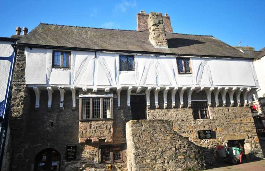 Conwy town centre and the Medieval Merchants House, now a National Trust shop