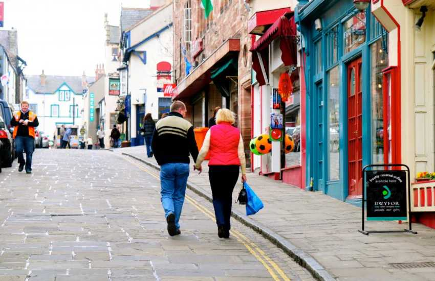 Conwy town centre with individual shops, cafe's and restaurants