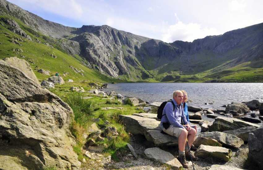 Cwm Idwal in the Ogwen Valley & Llanberis - catch the mountain railway to the top of Snowdon from Llanberis station. Accessible by railway