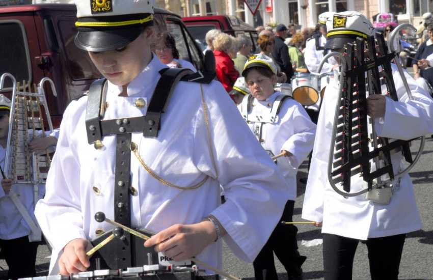 Musicians at the Victorian Extravaganza held on the streets of Llandudno in May each year