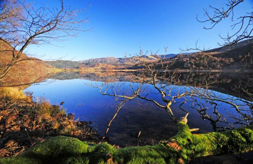 Llyn Dinas, one of the many tranquil lakes in North Wales