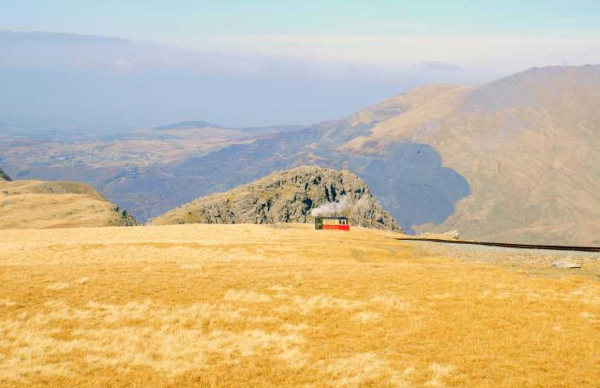 Snowdon train making its decent from close to the summit