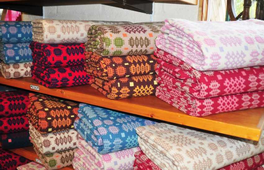 Trefriw Woollen Mill where you can watch the manufacture of traditional Welsh bedspreads/blankets, tweeds and travelling rugs