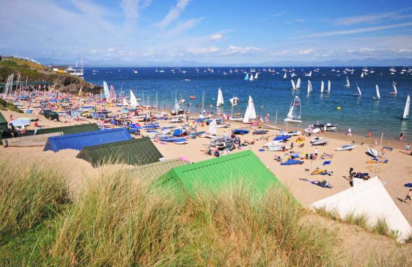 Abersoch beach is popular for family fun and watersports enthusiasts.