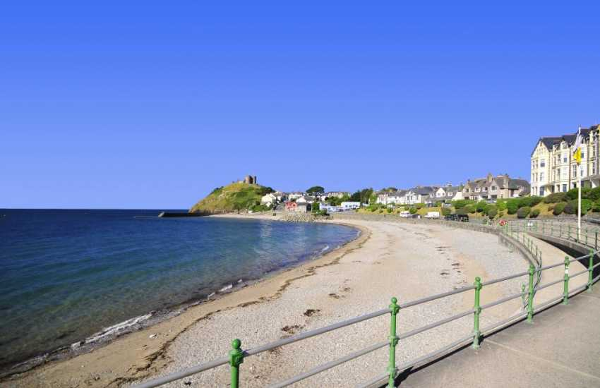 Criccieth - with the town and castle overlooking the beach
