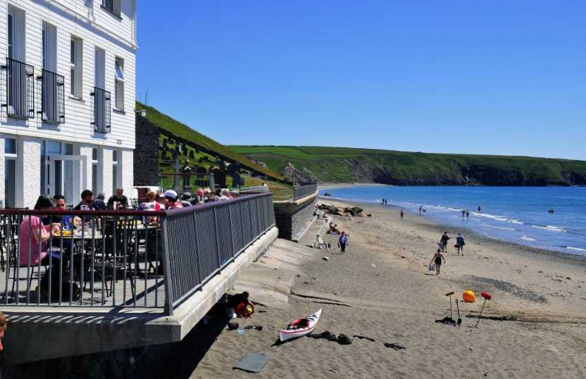 There are several superb eating places in Aberdaron, such as this one which is practically on the beach!