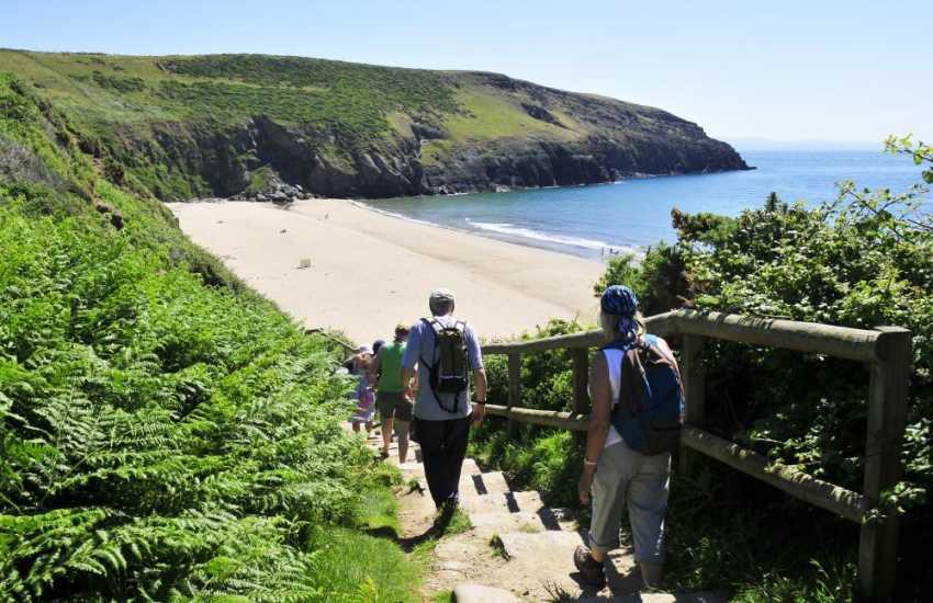 Deviate from the coastal path and climb down the steps to the fabulous Porth Ceiriad beach near Abersoch