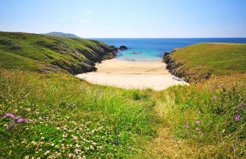 The incredible small bay of Porth Iago is a short drive away from Abersoch