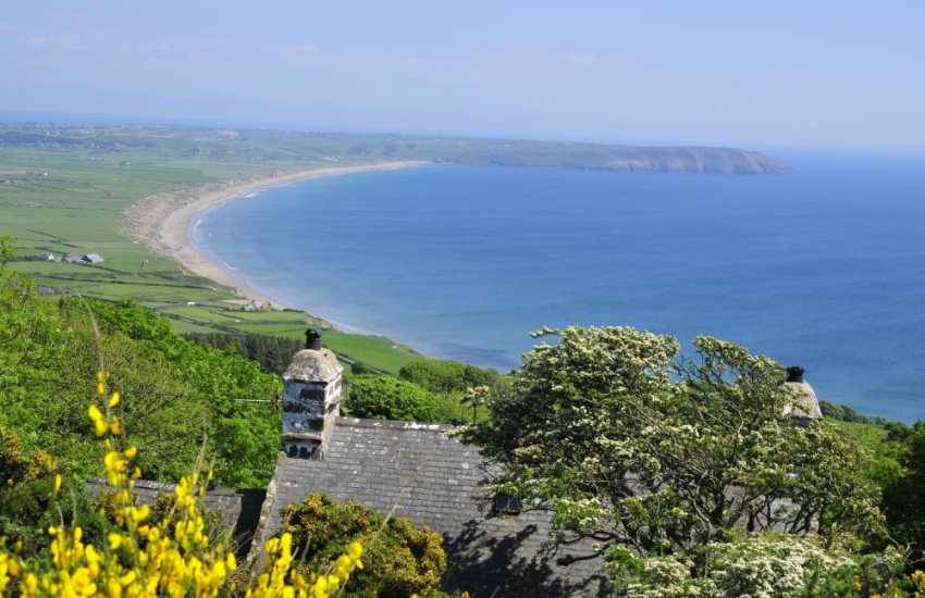 The fabulous beaches along the south coast of the Lleyn Peninsula - Hell's Mouth Beach viewed from Plas yn Rhiw (NT) House and Gardens