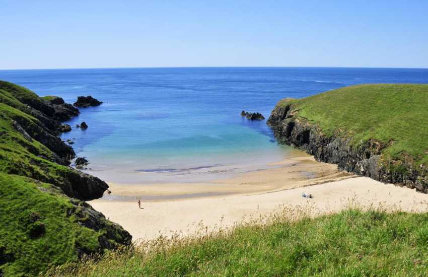 The gorgeous secluded bay at Porth Iago