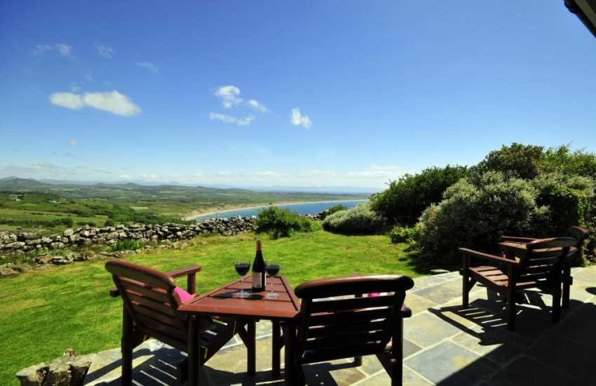 Relax on the terrace at the edge of Wales on the Lleyn Peninsula