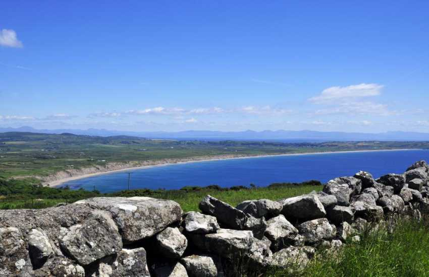 View of Hells Mouth with views across to Cardigan Bay and Snowdonia from holiday cottage