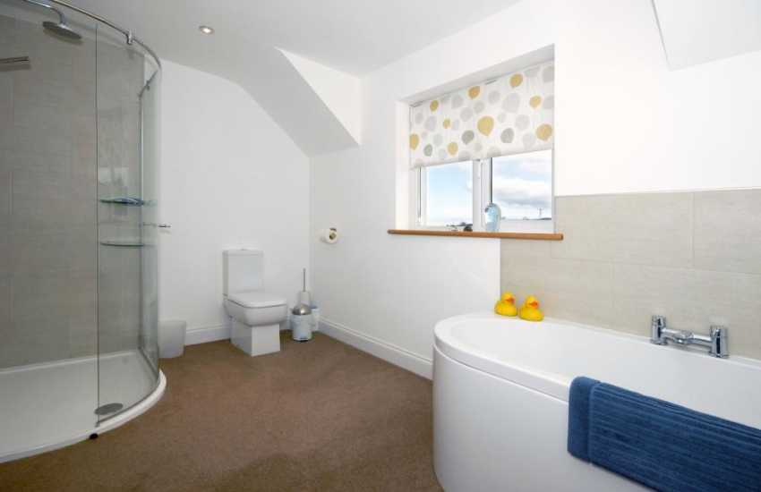 Cardigan Bay holiday home -twin en-suite bathroom with walk-in shower