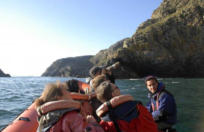 Explore the majestic sea cliffs of Ramsey Island on a thrilling jet boat trip - a 'must' whilst on holiday in Pembrokeshire!