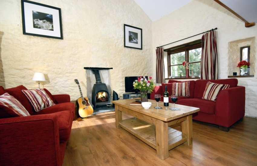 Nolton Haven coastal cottage - lounge with wood burning stove