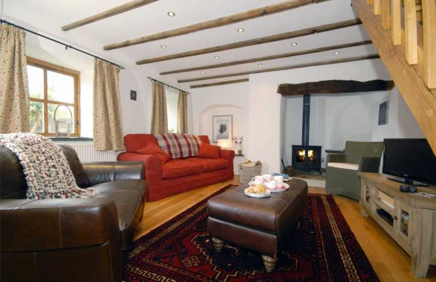 North Pembrokeshire cosy holiday cottage - sitting/dining room with wood burning stove