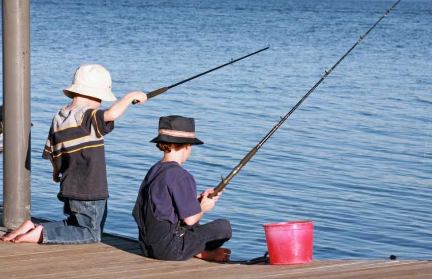 Fishing off the pontoon down at nearby Hazlebeach
