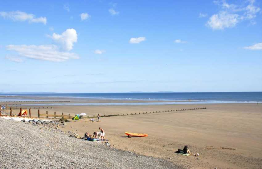 Amroth - a pretty seaside village with beach front cafes, restaurants, pubs and a huge expanse of golden sands at low tide