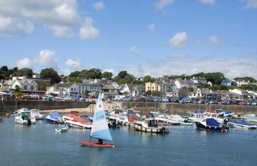 Saundersfoot harbour - a bustling seaside resort with a variety of shops, cafes, pubs and beach side restaurants to choose from