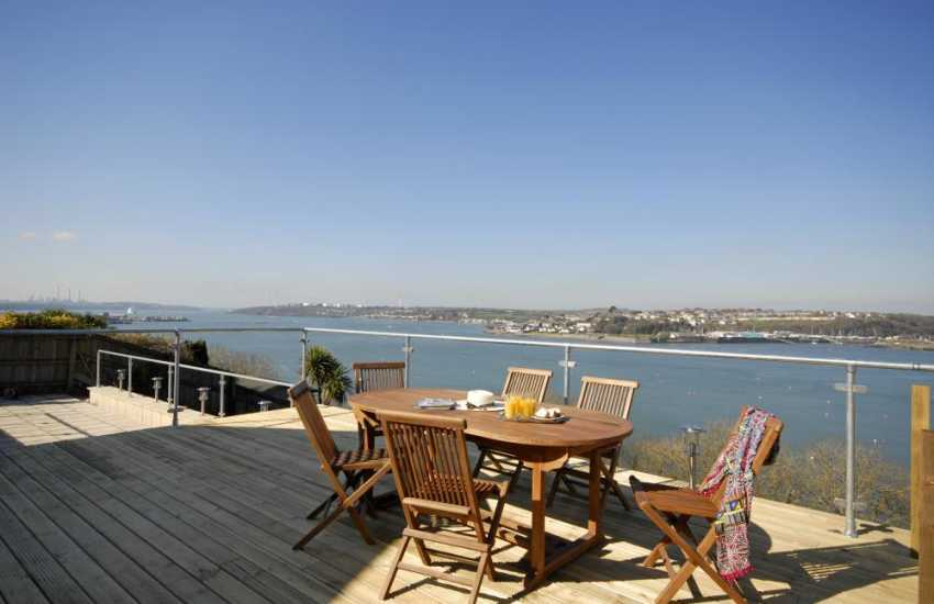 Fabulous panoramic views to the West down the Haven Waterway from the large decked area