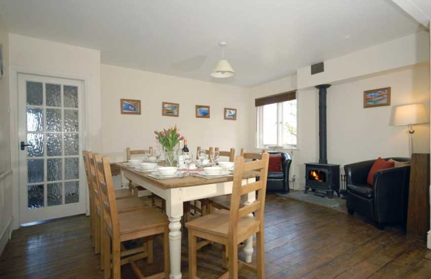 Self-catering Cardigan Bay home - luxury kitchen/diner with wood burning stove