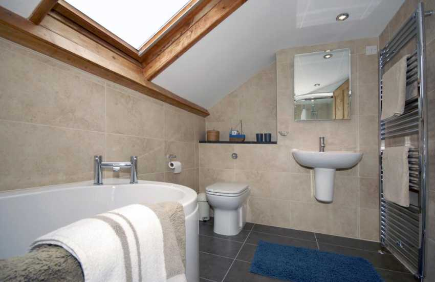 North Pembrokeshire holiday cottage - modern family bathroom with separate shower cubicle
