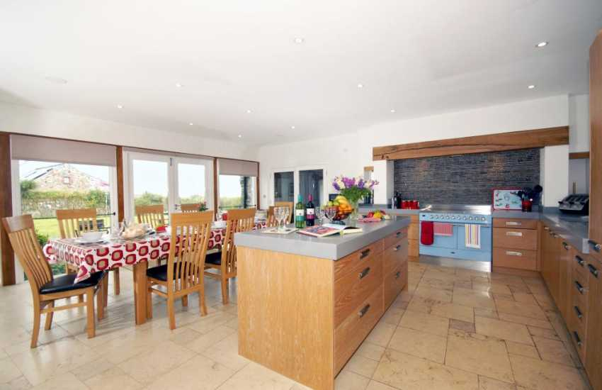 Self-catering Pembrokeshire holiday home - modern kitchen/dining room with coastal views