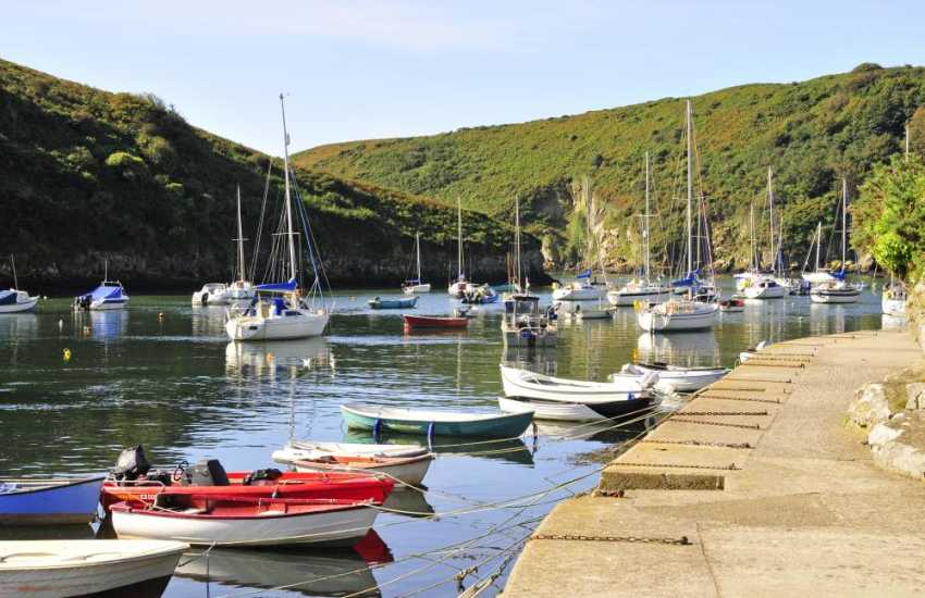 Walk the towpath beside the Solva River with luxurious yachts on the waters at high tide