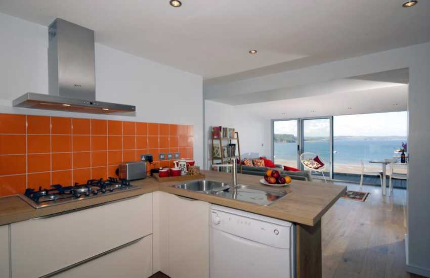 Self catering Tenby - open plan kitchen area with sea views!