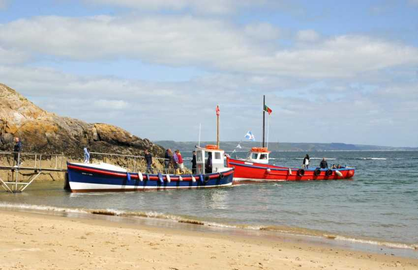 Short boat trips from Tenby Harbour cruise over to Caldey Island, owned by monks of the Cistercian Order