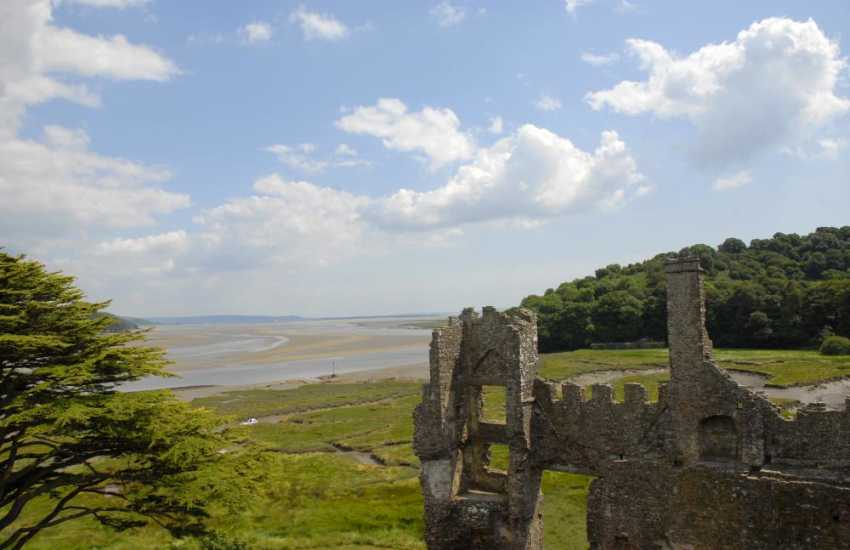 The Taf Estuary seen from the top of the 12th Century Laugharne Castle - the views are stunning
