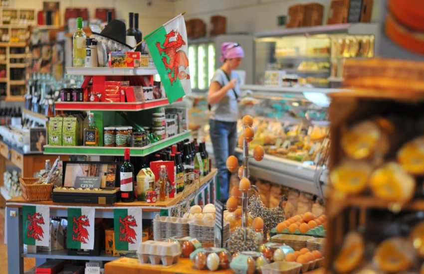 The Rhug Estate Farm Shop with butchers counter and deli specialises in Welsh, local and organic products