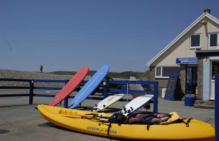 'Newsurf', located on Newgale Beach, offers surfing lessons and also kayak, surf board and wetsuit hire