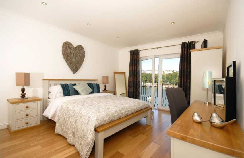 Haven Waterway holiday home - master with en-suite, t.v. and 'Juliet' balcony'