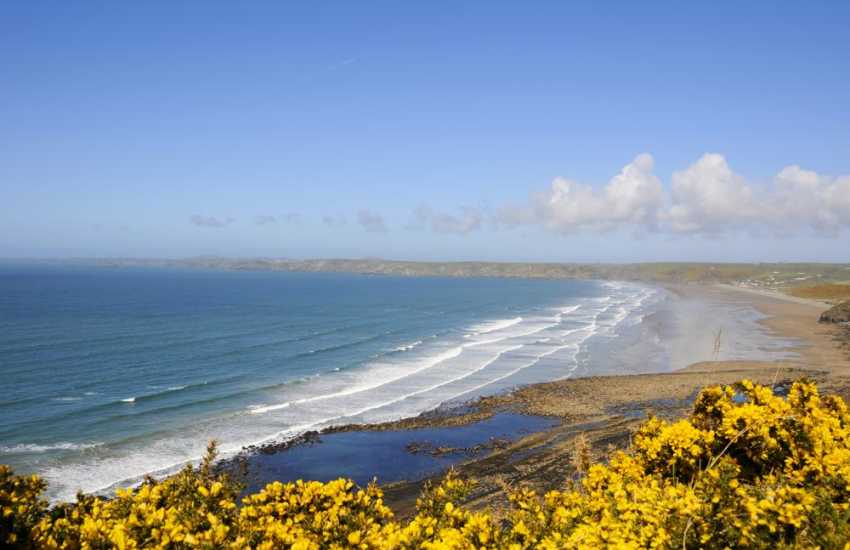 Newgale Beach - a fabulous 2 mile stretch of golden sand popular for surfing, kayaking and kite sailing