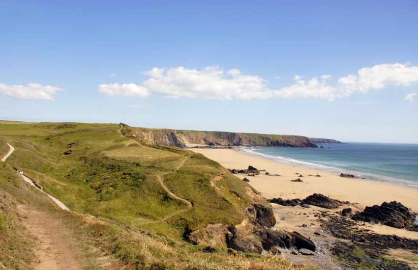 Walk The Pembrokeshire Coast Path to nearby Marloes Sands - a beautiful unspoilt beach low tide