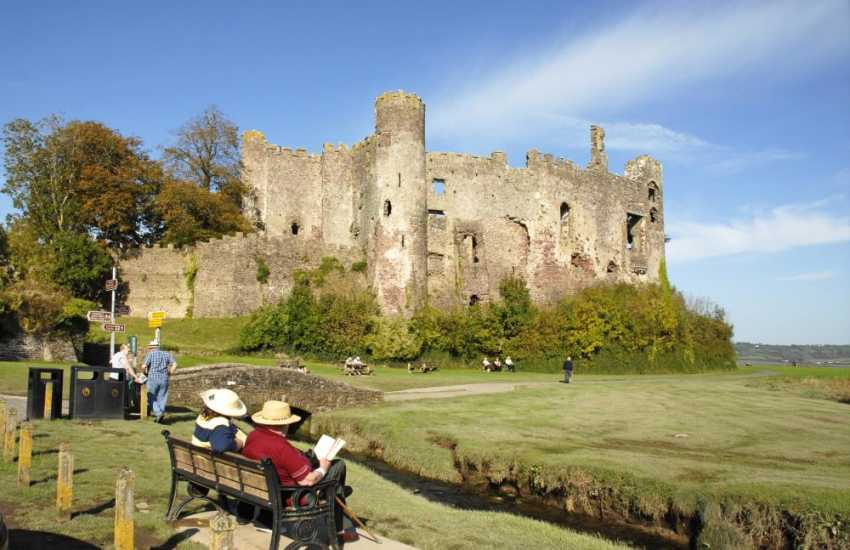 Romantic Laugharne Castle overlooks the waters of the Taf Estuary. This sleepy village was once home to Dylan Thomas where much of his work was written