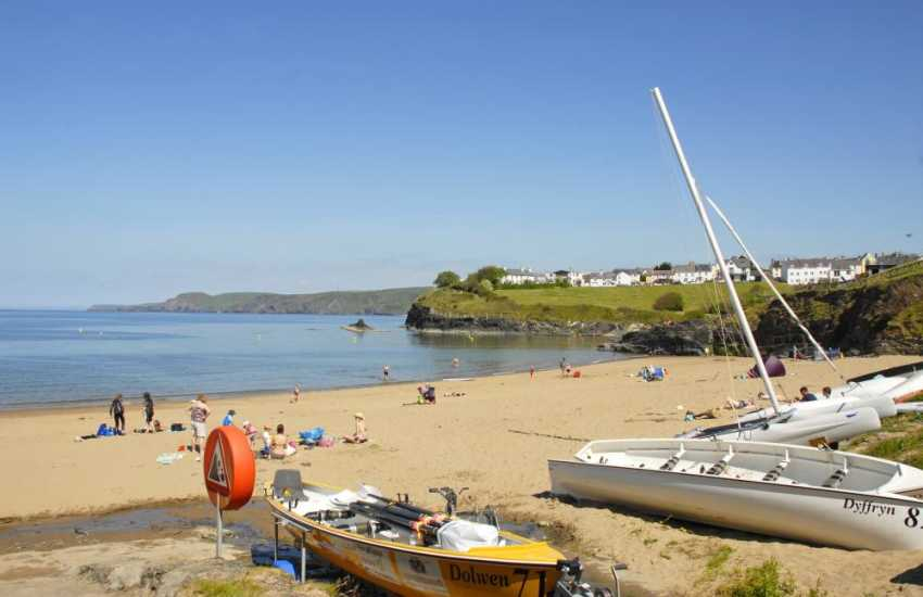 Aberporth is a picturesque fishing village with two golden sandy beaches and popular with families