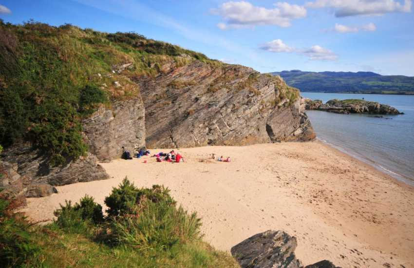 Secluded beaches and coves at Borth y Gest