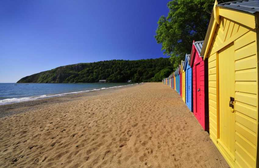 Llanbedrog Beach (National Trust) and its colourful beach huts