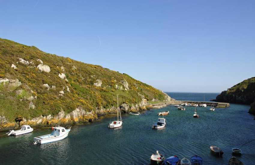 Porth Clais (N.T.) is a sheltered little harbour popular with local fisherman, sailors and canoeists