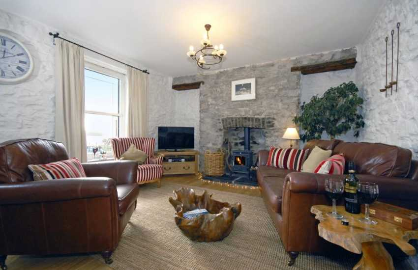 Cosy Pembrokeshire cottage near the coast - lounge with wood burning stove
