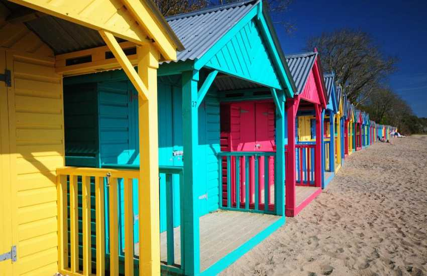 Llanbedrog beach huts & long sandy beach