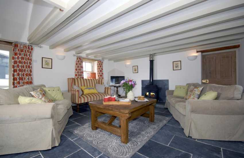 Pembrokeshire Coast holiday home - cosy living room with log burning stove