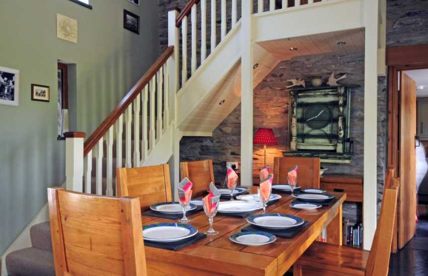 Dining area in mountain holiday cottage near Machynlleth