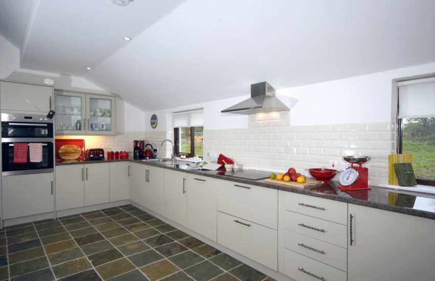 Newcastle Emlyn self-catering barn with open plan modern kitchen