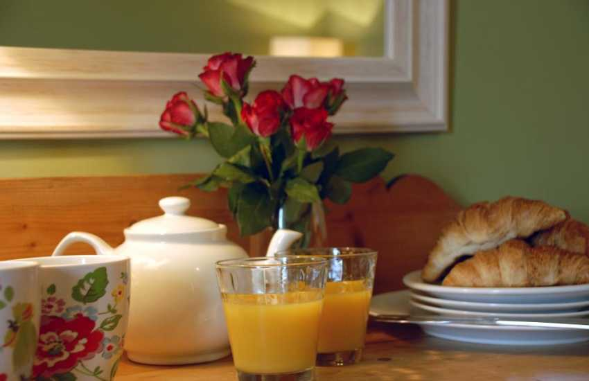 Breakfast in bed - a real holiday treat!
