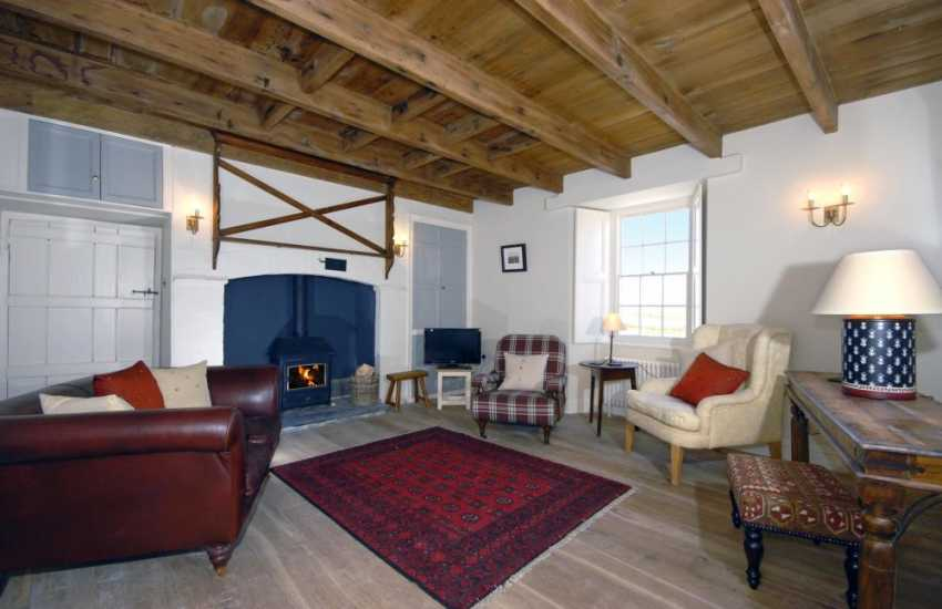North Pembrokeshire restored cottage near St Davids - cosy lounge with wood burning stove