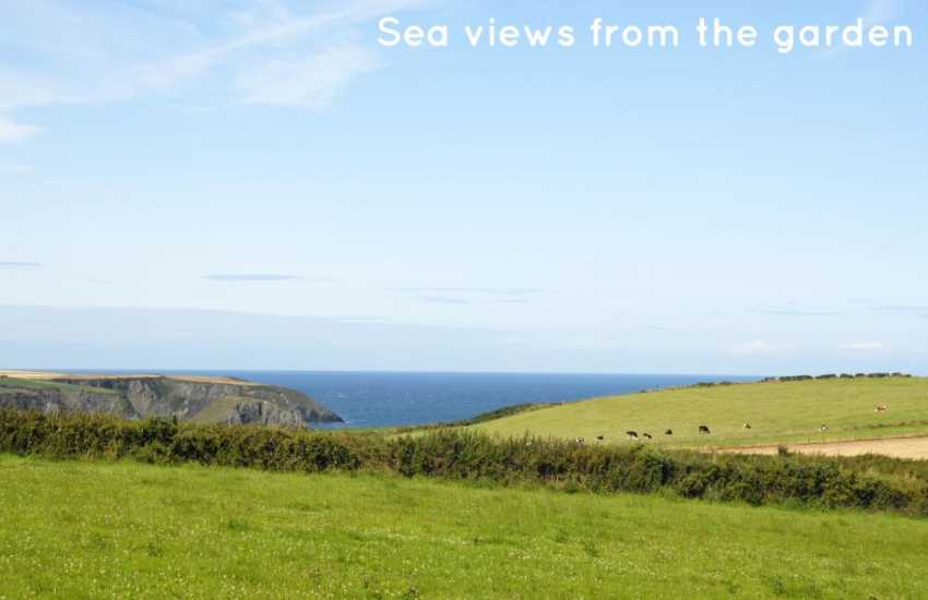 Sea views from the garden over the fields to nearby Aberfelin cove