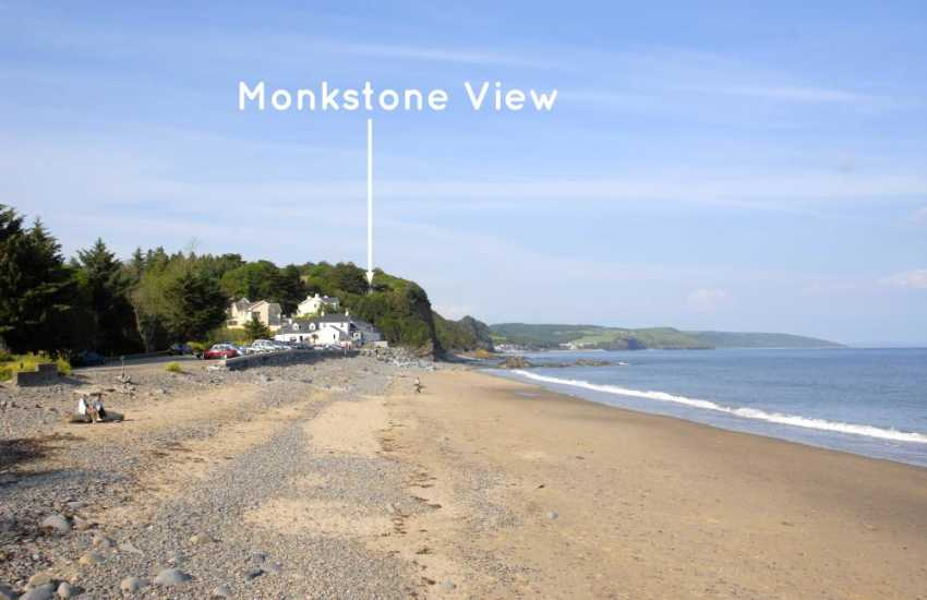 Monkstone View overlooks Wisemans Bridge Beach just a 3 minute stroll away
